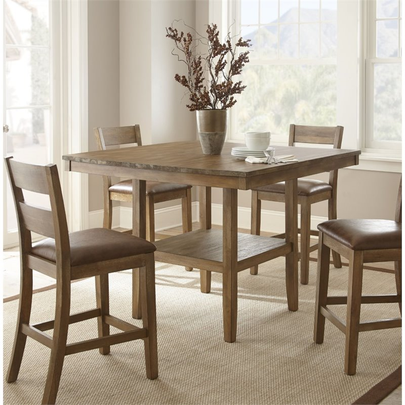 Steve Silver Cambrey Square Counter Height Dining Table in Honey