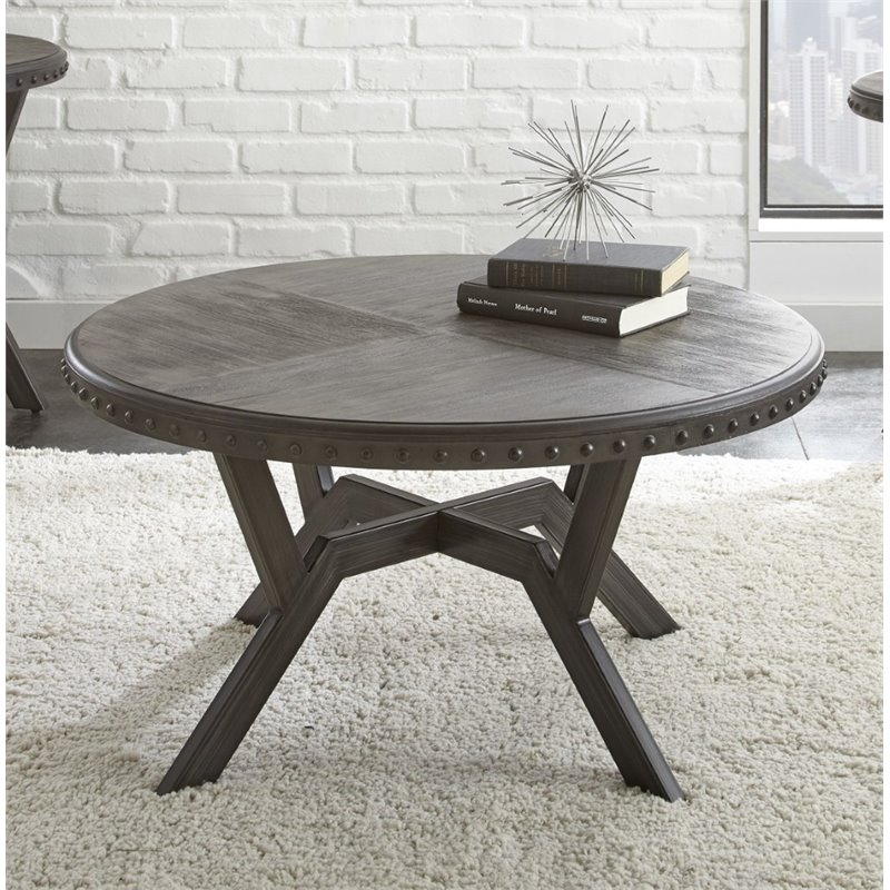 Steve Silver Alamo Round Coffee Table in Weathered Gray