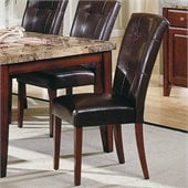 Steve Silver Company Montibello Vinyl Dining Parson Chair in Dark Brown
