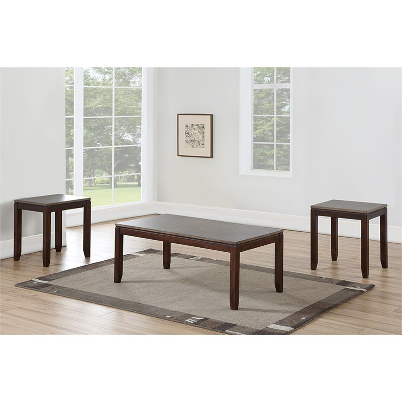 Steve Silver Alba 3 Piece Coffee Table Set in Gray and Brown