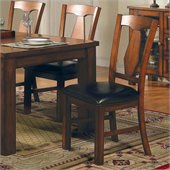 Steve Silver Company Lakewood Vinyl Dining Side Chair in Rich Oak