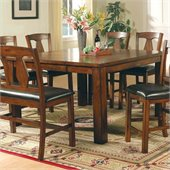 Steve Silver Company Lakewood Square Counter Height Dining Table in Rich Oak Finish