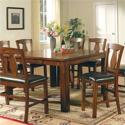 Steve Silver Company Lakewood 7 Piece Counter Height Dining Table Set in Rich Oak