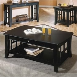Steve Silver Company Cassidy Rectangular Wood Top Cocktail Table in Black