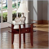 Steve Silver Company Gayle Cherry End Table with Glass Top