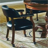 Steve Silver Company Tournament Box Seat Black Vinyl Arm Chair with Casters