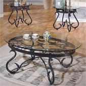 Steve Silver Company Lola 3 Piece Coffee Table Set in Dark Brown Finish