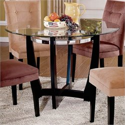 Steve Silver Company Matinee 48 Inch Round Glass Dining Table in Dark Cherry Finish