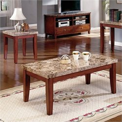 Steve Silver Company Montibello 3 Piece Marble Coffee Table Set in Cherry