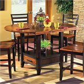 Steve Silver Company Abaco Drop Leaf Counter Height Storage Dining Table in Acacia Finish