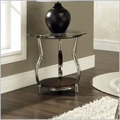Steve Silver Company Abagail Glass Top End Table in Chrome and Espresso Finish