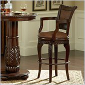 Steve Silver Company Antoinette Bicast Leather Swivel Bar Stool in Cherry Finish