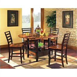 Steve Silver Company Abaco 5 Piece Drop Leaf Counter Height Storage Dining Table and Chairs Set