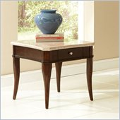 Steve Silver Company Marseille Marble Top End Table in Poplar