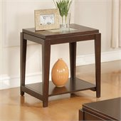 Steve Silver Company Ice End Table withCracked Glass Insert in Cherry Finish