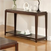 Steve Silver Company Ice Sofa Table with Cracked Glass Insert in Cherry Finish