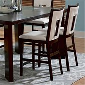 Steve Silver Company Delano White Vinyl Counter Height Dining Chair in Espresso