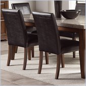 Steve Silver Company Clayton Dark Brown Vinyl Dining Side Chair in Light Cherry