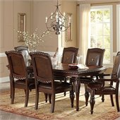 Steve Silver Company Antoinette Leg Dining Table with Leaf in Multi-Step Rich Cherry