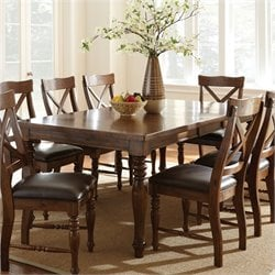 Steve Silver Company Wyndham Rectangular Dining Table with Leaf in Distressed Tobacco