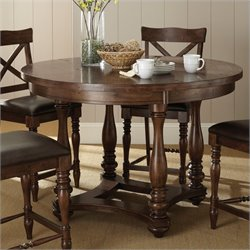 Steve Silver Company Wyndham Round Counter Height Dining Table in Distressed Tobacco