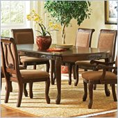 Steve Silver Company Harmony Rectangular Dining Table with Leaf in Dark Oak