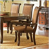 Steve Silver Company Harmony Harpback Dining Arm Chair in Dark Oak