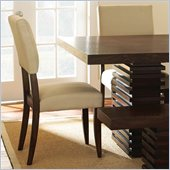 Steve Silver Company Briana Upholstered Beige Microfiber Dining Side Chair in Rich Espresso