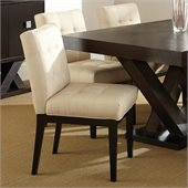Steve Silver Company Berkley Upholstered Beige Cotton Fabric Dining Chair in Espresso