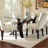 Steve Silver Company Berkley Dining Table in Espresso with Clear Glass Top