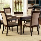 Steve Silver Company Marseille Marble Top Dining Table in Multi-Step Dark Rich Cherry