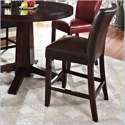 Steve Silver Company Hartford Bonded Brown Leather Counter Height Dining Chair in Dark Cherry