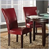 Steve Silver Company Hartford Bonded Red Leather Dining Chair in Dark Cherry