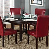 Steve Silver Company Hartford 62 Inch Round Casual Dining Table in Dark Cherry