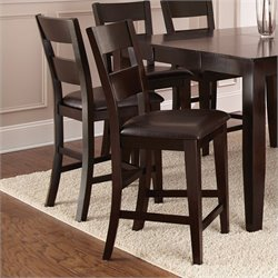 Steve Silver Company Victoria Dark Brown Upholstery Counter  Dining Chair in Mango Finish