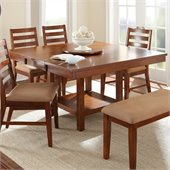 Steve Silver Company Eden Modern Dining Table with Leaf and Lazy Susan in Light Cherry
