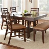 Steve Silver Company Eden Modern Dining Table with Leaf and Lazy Susan in Dark Cherry