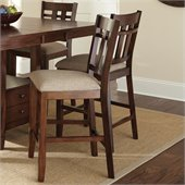 Steve Silver Company Bolton Beige Fabric Upholstery Counter Dining Chair in Dark Oak