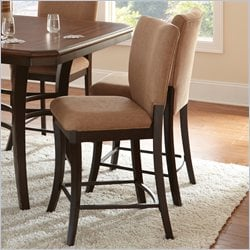 Steve Silver Company Derrick Upholstered Brown Poly-Cotton Counter Height Dining Chair in Dark Oak