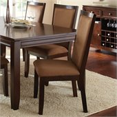 Steve Silver Company Cornell Upholstered Brown Microfiber Dining Side Chair in Espresso