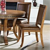 Steve Silver Company Ashbrook Upholstered Brown Vinyl Dining Side Chair in Oak