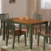Steve Silver Company Candice Rectangular Dining Table in Oak and Green