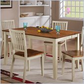 Steve Silver Company Candice Rectangular Dining Table in Oak and White