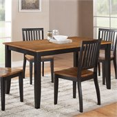 Steve Silver Company Candice Rectangular Dining Table in Oak and Black