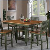 Steve Silver Company Candice Counter Dining Table with Butterfly Leaf in Oak and Green