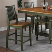 Steve Silver Company Candice Counter Height Dining Chair in Oak and  Green