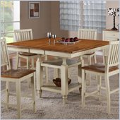 Steve Silver Company Candice Counter Dining Table with Butterfly Leaf in Oak and White