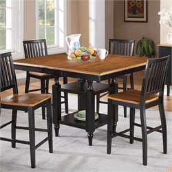 Steve Silver Company Candice Counter Height Dining Table with Butterfly in Oak and Black