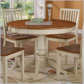 Steve Silver Company Candice Round Dining Table in Oak and White