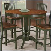 Steve Silver Company Candice Round Counter Height Dining Table in Oak and Green